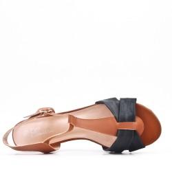 Grande taille sandale plat en simili cuir pour femme