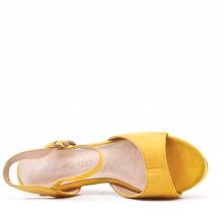 Grande taille sandale à talon compensé en simili daim pour femme