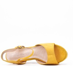 Large size suede wedge sandal for women