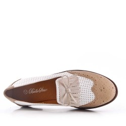 Women's Oxford shoe without lace in a mix of materials