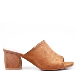 Faux suede heeled sandal for women