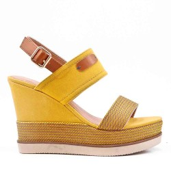 Wedge heel sandal in material mix for women
