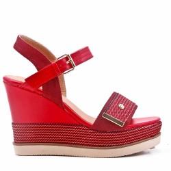 Sandale à talon compensé en mix matière pour femme