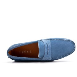 Blue moccasin in suede flanged leather