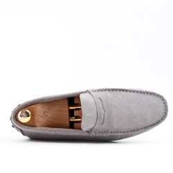 Light gray loafer in suede flanged leather