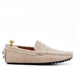 Beige suede leather moccasin