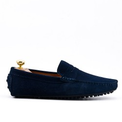 Navy moccasin in suede flanged leather