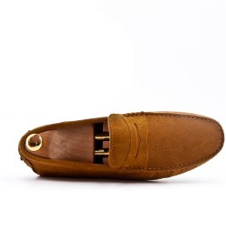 Camel moccasin in suede flanged leather