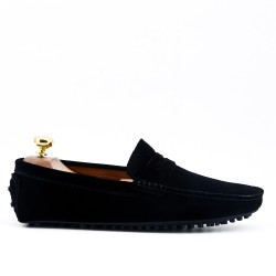 Black moccasin in suede flanged leather