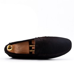 Brown moccasin in suede flanged leather