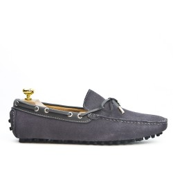 Gray loafer in suede leather with bow