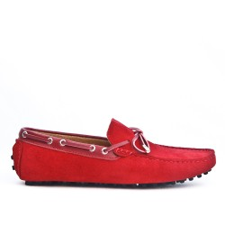 Red suede loafer with bow