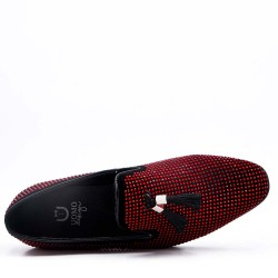 Faux leather moccasin with pompom