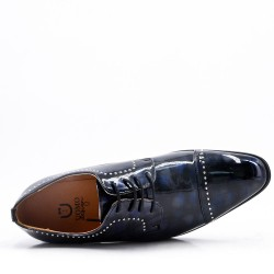 Faux leather derby with lace