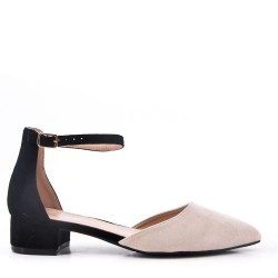 Pointed flat sandal in faux suede for women