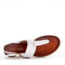 Large size 38-43 - Flat faux leather sandal for women