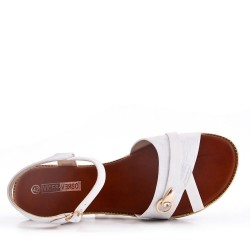 Grande taille 38-43 - Sandale plat en simili cuir pour femme