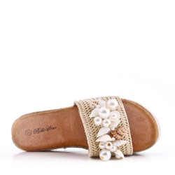Slipper-on espadrille sole in faux suede