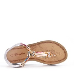 Flat thong sandals in mixed materials for women