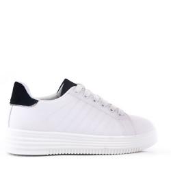 Women's faux leather lace up sneaker