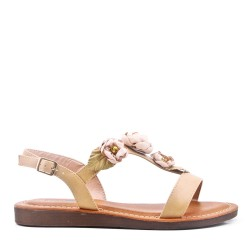 Sandalias planas en una mezcla de materiales para mujeres