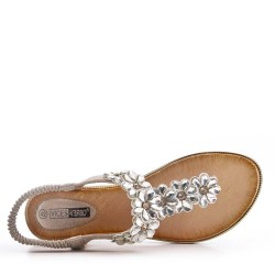 Big size -Flat sandal in faux leather