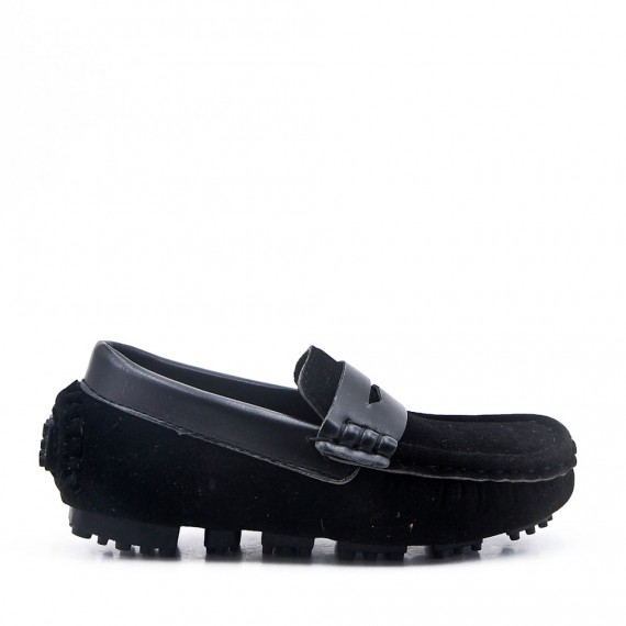 Child's moccasin with faux suede strap