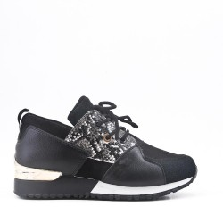Snake black sneaker with lace