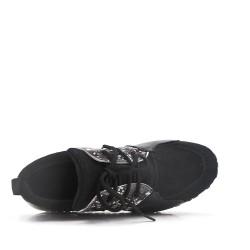 Basket noire à motif serpent avec lacet