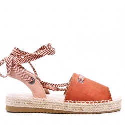 Women's suede lace-up espadrille