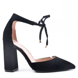 Faux suede heeled lace sandal for women