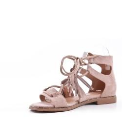 Sandale plat en simili daim à lacet pour femme