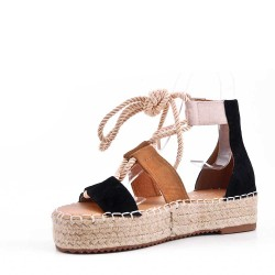 Wedge lace-up sandal in faux suede