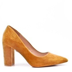 Faux suede women's heeled pumps
