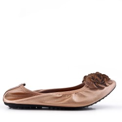Large size - Faux leather ballerina