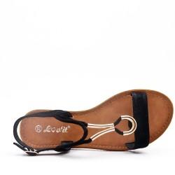 Sandale plat en simili daim pour femme