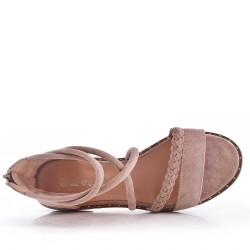 Flat sandals in faux suede for women