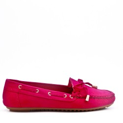 Moccasin in faux suede with bow