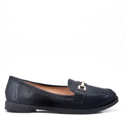 Faux leather moccasin with strap
