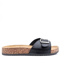 Slides with faux leather strap