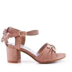 Sandale fille à petit talon avec nœud