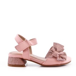 Girls' low heel sandal with bow