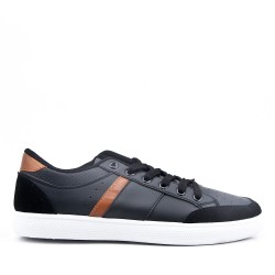 Lace-up faux leather sneaker