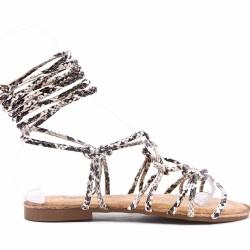Sandale plat en simili cuir à lacet pour femme
