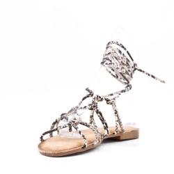 Sandalia plana con cordones para mujer en piel sintética