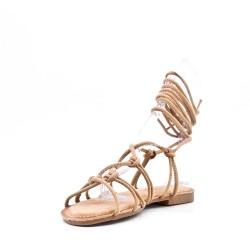 Sandalia plana con cordones para mujer en gamuza sintética