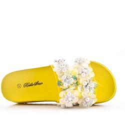 Claquette en simili daim avec fleur pour femme