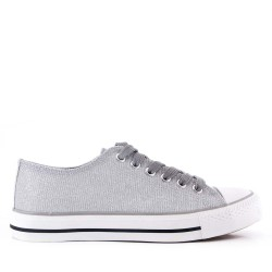 Women's textile lace-up tennis