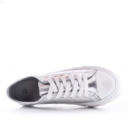 Leatherette lace-up tennis