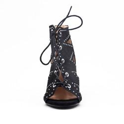 Sandale à talon lacet en simili daim pour femme